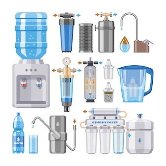 Wasserfiltervektor, der sauberes getränk in der flasche und in der gefilterten oder gereinigten flüssigen illustration filtert