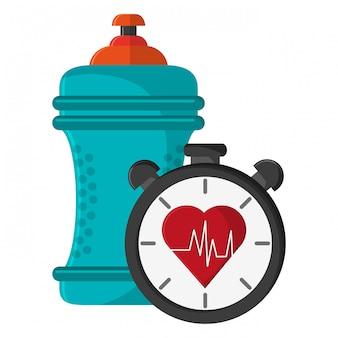Wasserflasche und timer mit herz herzenszeichen