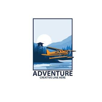 Wasserflugzeug auf den seitenbergen