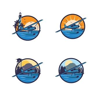 Wasserflugzeug-logo-set