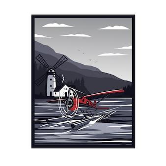 Wasserflugzeug und windmühle