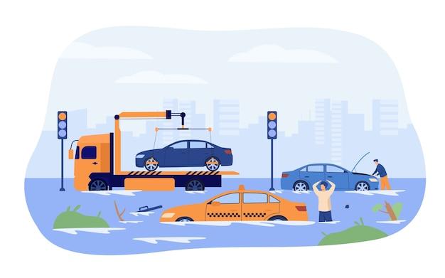 Wasserflut auf stadtstraßen. fahrer und abschleppwagen schützen beschädigte autos vor starkem regen und sturm. vektorillustration für regenzeit, regenzeit, naturkatastrophenkonzept