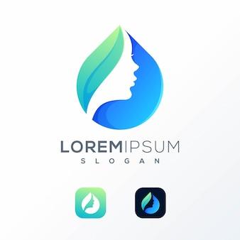 Wasserfrauen-logodesign gebrauchsfertig