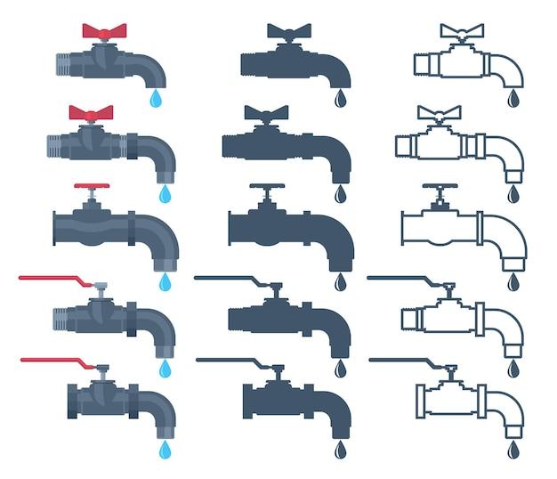 Wasserhahn symbol. wasserventil. mit wassertropfen klopfen.
