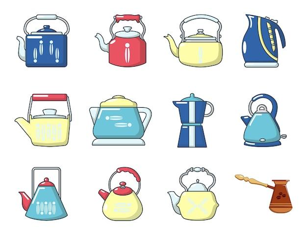 Wasserkocher-icon-set. karikatursatz kesselvektorikonen eingestellt lokalisiert