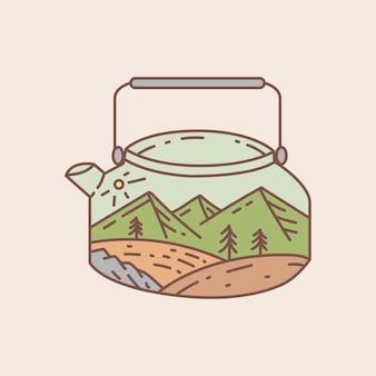 Wasserkocher im freien mit landschaftsansichtillustration