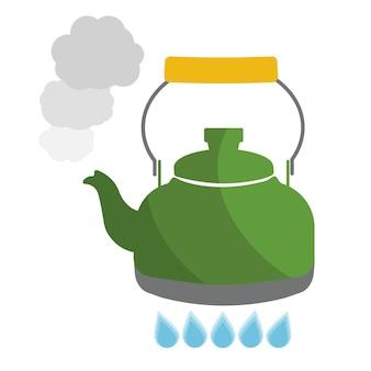 Wasserkocher kocht mit flacher vektorillustration des wassers. küchenutensilien auf lager abbildung.