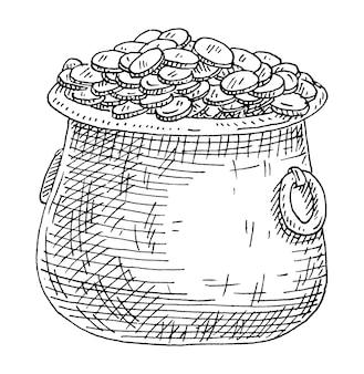 Wasserkocher mit münzen. weinlese, die einfarbige schwarze illustration ausbrütet. isoliert auf weiß