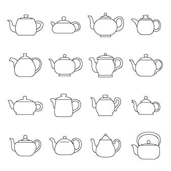 Wasserkocher teekanne icons set