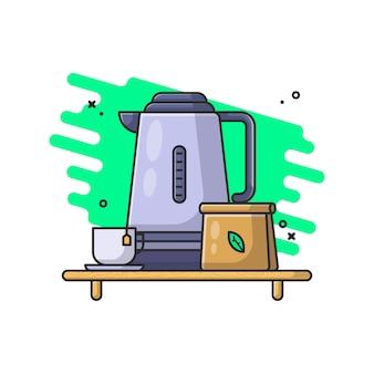 Wasserkocher und glas mit teeblattillustration