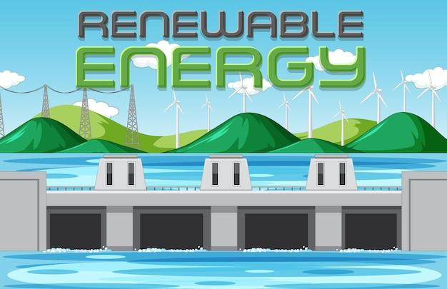 Wasserkraftwerke erzeugen strom mit erneuerungsbanner