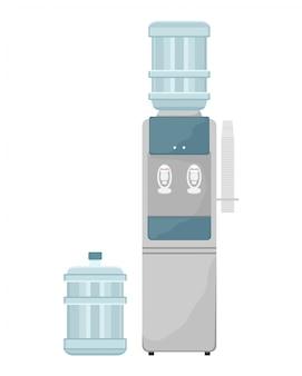 Wasserkühler mit plastikbechern. austauschbare wasserflasche. sauberes wasser im büro. flache illustration.