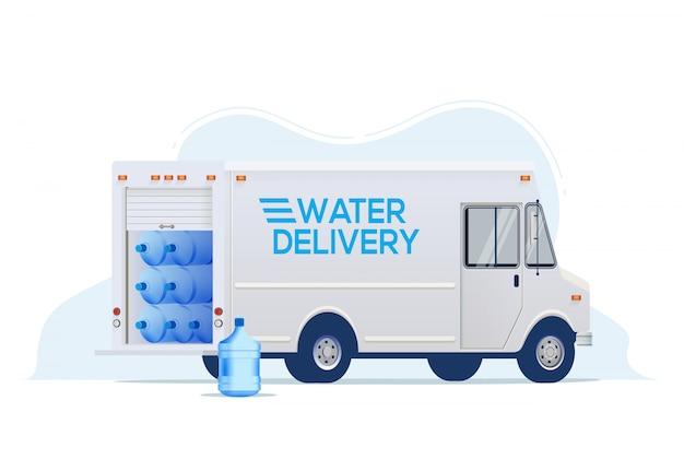 Wasserlieferwagen für wasserlieferdienst-website oder bannerentwurf. auf weißem hintergrund isoliert. illustration. Premium Vektoren