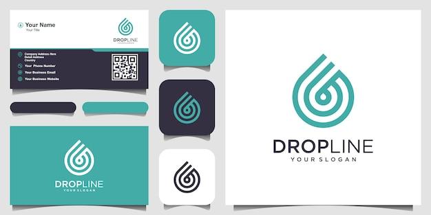 Wasserlinie logo. tröpfchen mit strichzeichnungen für mobiles konzept und webdesign. visitenkarten-design