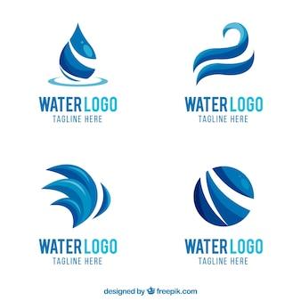 Wasserlogosammlung für firmen in der flachen art
