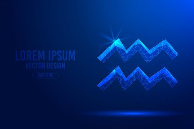 Wassermann elften sternzeichen abstrakten hintergrund. lineares und polygonales 3d-konzept des horoskops, himmelskonstellation.