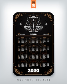 Wassermann jahr tierkreis kalender taschenformat vertikales layout schwarze farbe stil konzept illustration