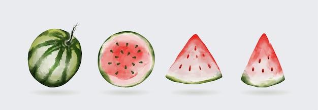 Wassermelone aquarell clipart set isoliert