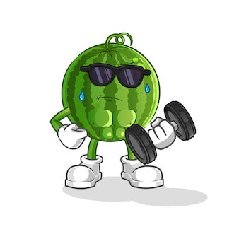 Wassermelone, die hantelkarikaturmaskottchen anhebt