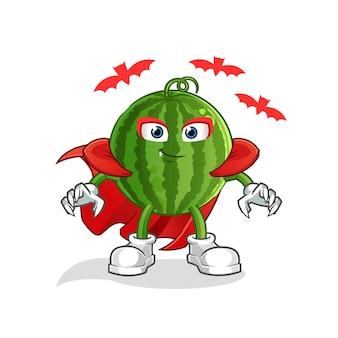 Wassermelone dracula cartoon maskottchen