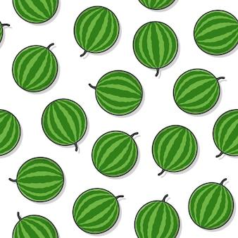 Wassermelone-frucht-nahtloses muster auf einem weißen hintergrund. frische wassermelone-symbol-vektor-illustration