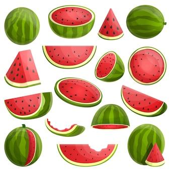 Wassermelone gesetzt. karikatursatz der wassermelone