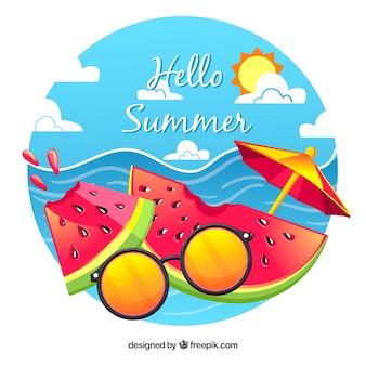 Wassermelone hintergrund mit sonnenbrille und regenschirm