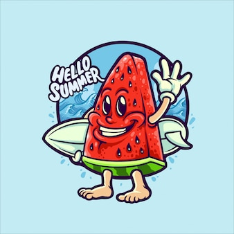 Wassermelone im sommer feiertag charakter illustration