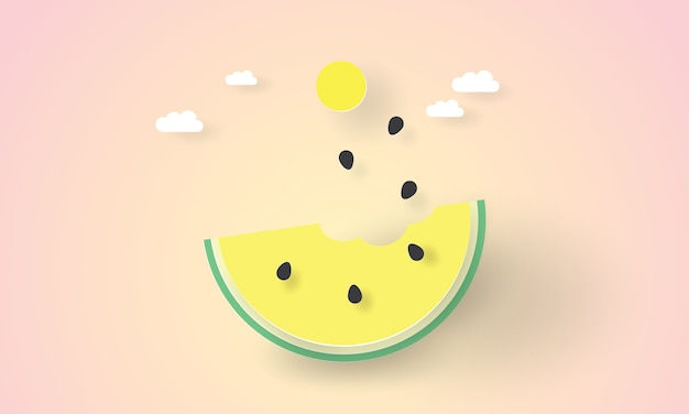 Wassermelone mit einem biss mit pastellfarbenem farbton, sommerzeit