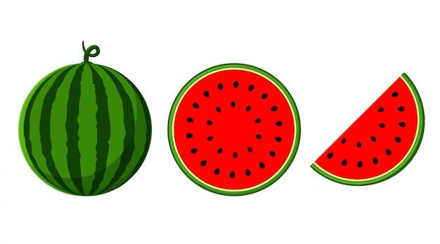 Wassermelone mit rotem fleisch ist halbiertes isolat auf einem weißen hintergrund.