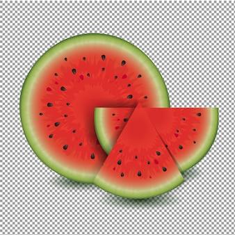 Wassermelone mit transparentem hintergrund, illustration