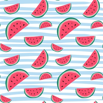 Wassermelone-nahtloses muster-bunte sommer-verzierungs-hintergrund-art