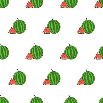 Wassermelone-scheibe-nahtloses muster auf einem weißen hintergrund. wassermelonen-thema-vektor-illustration