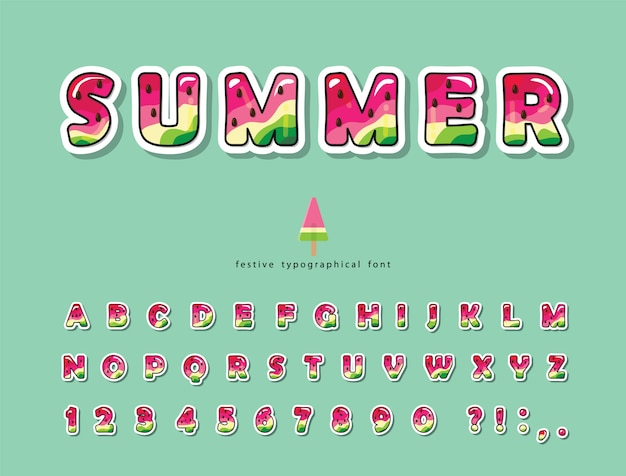 Wassermelone sommer trendige schrift. cartoon-alphabet.