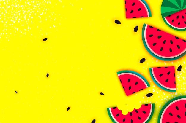 Wassermelone super summer sale banner im papierschnitt-stil.