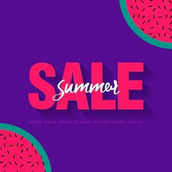 Wassermelone super summer sale banner vorlage. origami saftige reife wassermelonenscheiben. gesundes essen auf lila. sommer. illustration