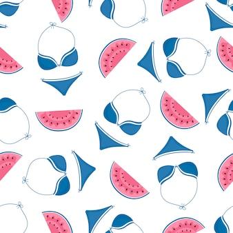 Wassermelone und badeanzug. strandzubehör. sommer nahtloses muster.