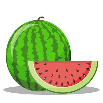 Wassermelone und rote scheibe mit schwarzen samen.