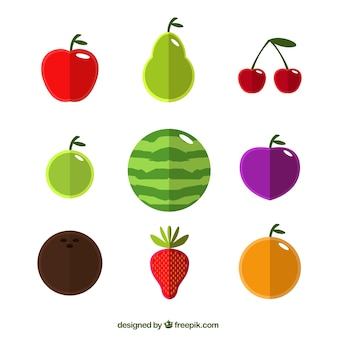 Wassermelone und sommerfrüchte in flaches design