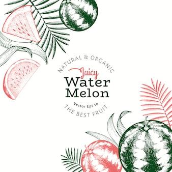 Wassermelone und tropische blätter vorlage. hand gezeichnete exotische fruchtillustration. gravierter obstrahmen. retro botanisch.