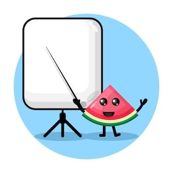 Wassermelone wird zu einem süßen charakterlogo des lehrers
