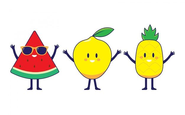 Wassermelone, zitrone und pinneaple