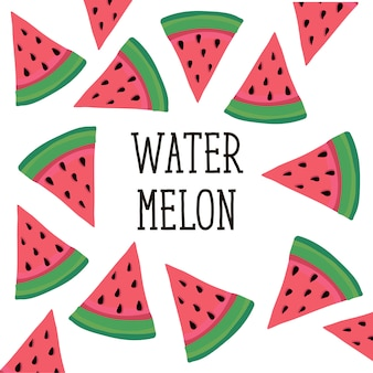 Wassermelonen-art-illustrationslebensmittel-fruchtbonbon