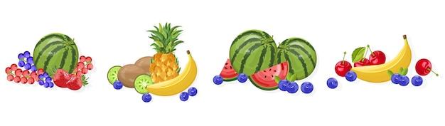 Wassermelonen-, bananen- und beerensammlung