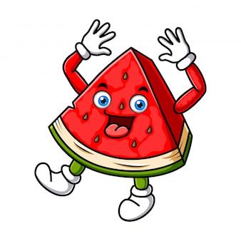 Wassermelonen-charakter-design oder wassermelonen-maskottchen