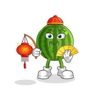 Wassermelonen-chinese mit laternenkarikaturmaskottchen