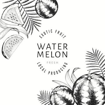 Wassermelonen, melonen und tropische blätter entwerfen vorlage