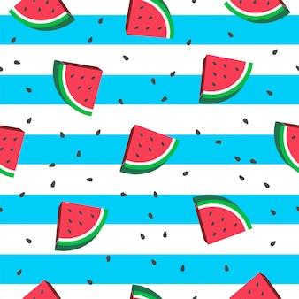 Wassermelonen-nahtloser musterhintergrund.