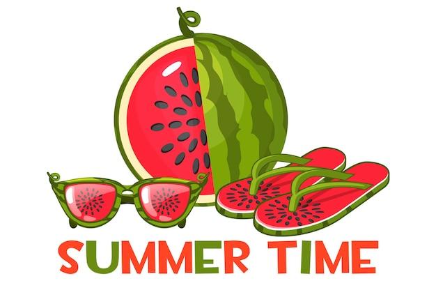 Wassermelonen-sonnenbrille und strand-flip-flops. satz strandobjekte und eine geschnittene wassermelone.
