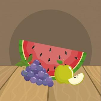 Wassermelonen-trauben und apfel